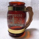SIESTA WARE GETTYSBURG PA AMBER GLASS WITH WOOD HANDLE GLASS BEER MUG