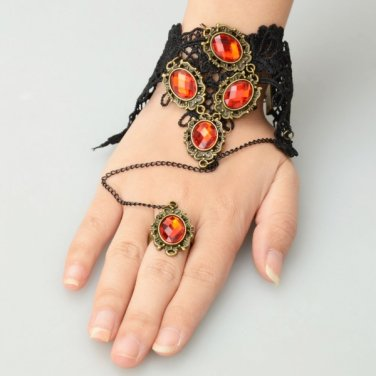 Alloy Arm Chain and Ring Set with Five Red Rhinestone