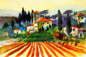 Tuscany Countryside Watercolor