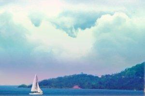 Sailboat in bay watercolor print
