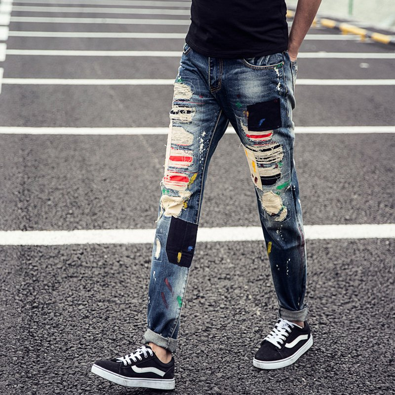 Men skinny Jeans ripped  Denim Sport Slim Fit Causal Men's Jeans distressed jeans destroyed jeans