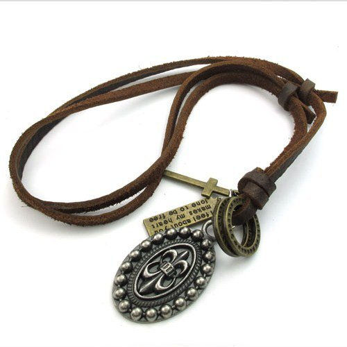 Men Adjustable Genuine Leather Chain necklaces Cross Chrome Hearts