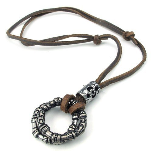 Men Genuine Leather Chain Adjustable necklaces Birthday Gifts