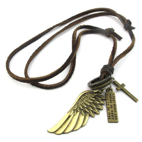 men Genuine Leather Adjustable chain necklaces WING Pendant best gifts TWO COLORS