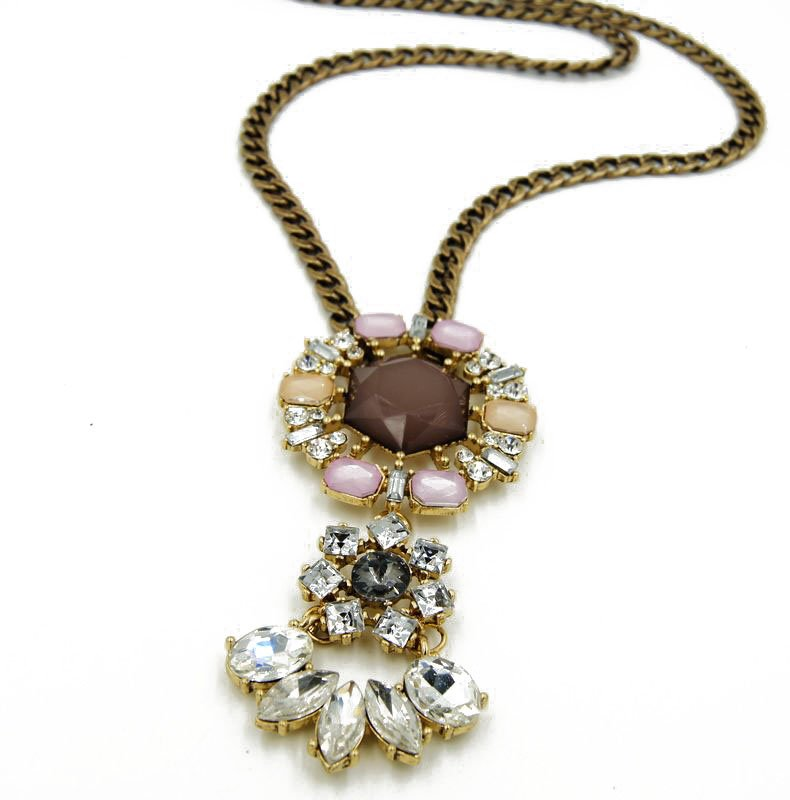 Women necklaces Vintage gold plated polished chains  glass gems great gift for her