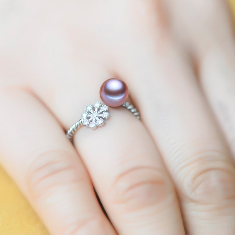 AAA+ fashion jewelry 7-8mm Freshwater pearl rings with 925 sterling silver for women