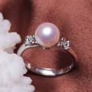 fashion jewelry 8-9mm Freshwater pearl rings with silver plante for women
