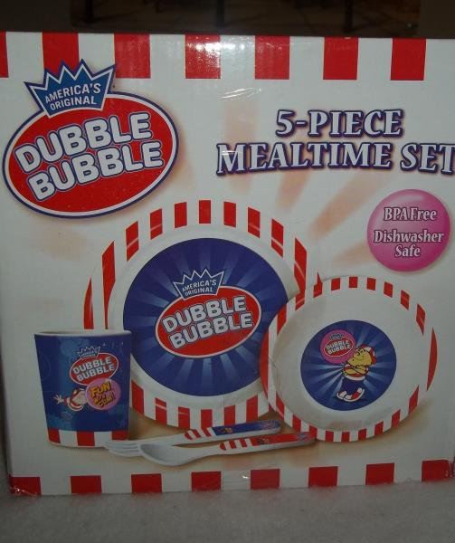 Dubble Bubble 5 Piece Mealtime Set Plate Bowl Cup Fork & Spoon Childs