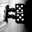 Black & White Dominoes Chunky Stretch Handmade Bracelet
