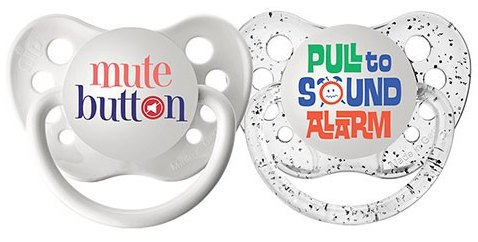 Newborn Pacifier Set - Mute Button Pacifier - Pull to Sound Alarm Binky - 0-6 months Soothers