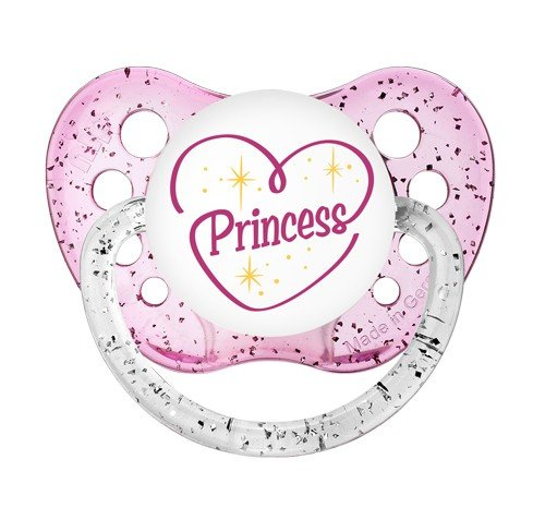 Princess Pacifier - Ulubulu - Girls - 0-6 months - Glitter Binky - Baby Girl Dummy