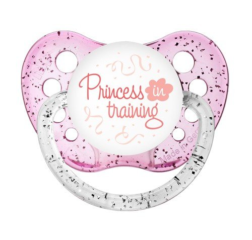 Princess In Training Pacifier - Glitter Pink Binky - NUK Paci 0-6 months - Sparkle Dummy