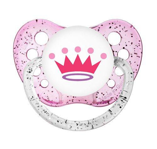 Princess Crown Pacifier - Tiara Soother - Ulubulu Binky 6+ months - Glitter Pink Dummy