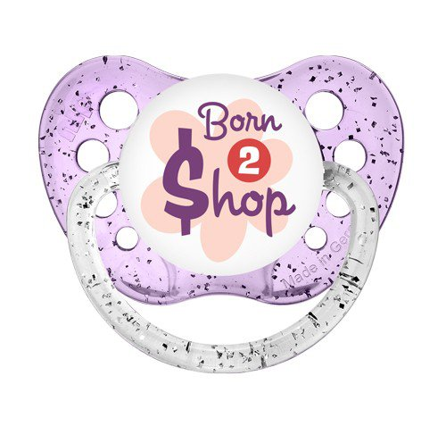 Born To Shop Dummy - NUK Binky 6+ months - Little Girl Pacifier - Glitter Purple Soother