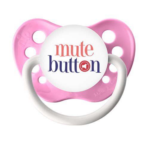 Mute Button Pacifier - Ulubulu Binky -  0-6 months - Pink Baby Soother - Baby Girl Dummy