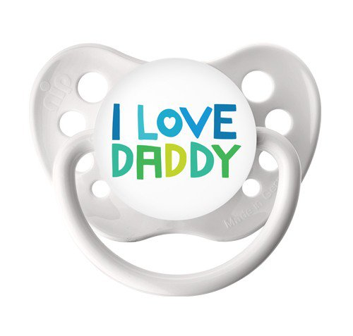 I love Daddy Binky - Ulubulu Pacifier 6+ months - White Soother - Orthodontic Dummy