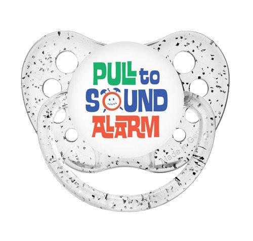 Pull to Sound Alarm - 0-6 months - Ulubulu - Glitter Clear - Unisex- Funny Baby Binky