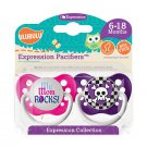 My Mom Rocks Pacifier and Purple Skull Pacifier Set - Girls - 6+ months - Ulubulu