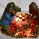 ALLIGATOR And TURLE Lighted FIGURINE Playing CHESS Checkers Tree Stump (#38001)