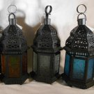 Moroccan Style CANDLE LANTERN Iron & Glass LANTERNS Uses Tealights or Votives