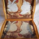 Chicken SERVING TRAYS Set Of 2 Wood CHICKENS (#35061)