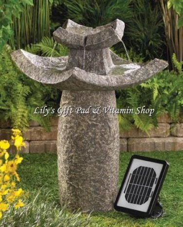 TEMPLE Solar Powered WATER FOUNTAIN Outdoor Garden Accent (#12844)