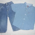 BOYS 2 Piece Set BUTTON UP SHIRT JEANS 18 Months 18M Kids Clothes TOMMY HILFIGER