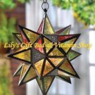 MOROCCAN-STYLE STAR CANDLE LANTERN Multicolored Glass Tealight Or Votive (#34690