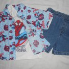 BOYS 3 Piece Set SPIDERMAN Button Up Shirt T-Shirt Shorts 2T TODDLER Clothes