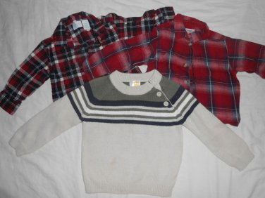 BOYS Lot Of 3 Long Sleeve Flannels & Sweater SIZE 24 MONTHS Kids Clothes