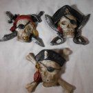 PIRATE MAGNET Set Of 3 PIRATES Skulls Crossbones Swords MAGNETS (#12912)
