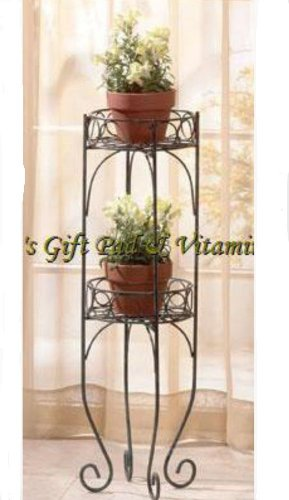 Two-Tier PLANT STAND Flower Pot Shelf FLORAL Plants Metal Stand (#28232)