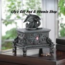 Black DRAGON Treasure JEWELRY Box With Pink Jewels Medieval Gothic DRAGONS 15262