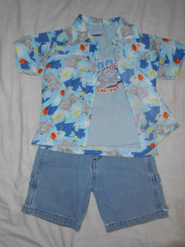 BOYS 3 Piece Set Button up SHIRT, T Shirt & Shorts 3T TODDLER Kids Clothes SHARK