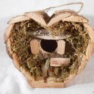 Heart Shaped LOVE SHACK BIRDHOUSE Love Birds Wood With Moss BIRD HOUSE (#12605)