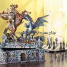 "DRAGON & KNIGHT CHESS SET Medieval Castle Fortress DRAGONS 12"" High (#37128)"