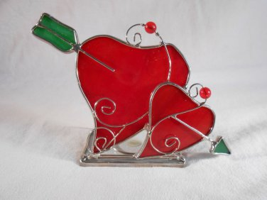HEART Shaped TEALIGHT HOLDER Double Hearts With Arrow (#38224)