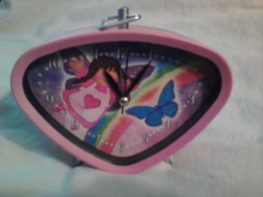 Pink ANGEL CLOCK For Girls' Room BUTTERFLY & RAINBOW On Face (#37189)