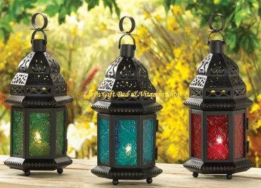 Glass MOROCCAN Style CANDLE LANTERNS Choose From Green Blue Red Rainbow Or Clear