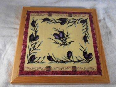 MONITICINO TRIVET Olives Vines Kitchen WALL PLAQUE Vineyard Wood Ceramic #36553