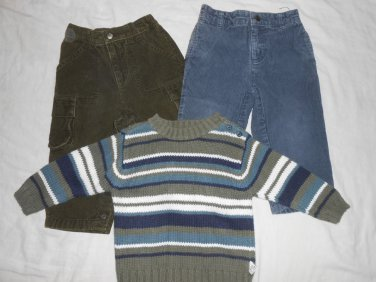 BOYS 3 Piece Lot CORDUROY PANTS & SWEATER 18 Months 18M Kids Clothes OLD NAVY