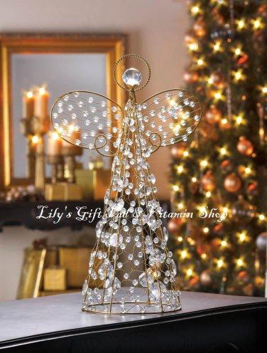 Beaded Golden ANGEL Figurine HOLIDAY DECOR Christmas Tree Topper  (10015359)