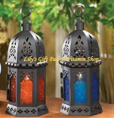 Glass MOROCCAN Style CANDLE LANTERNS Choose Color From Yellow Amber Or Blue