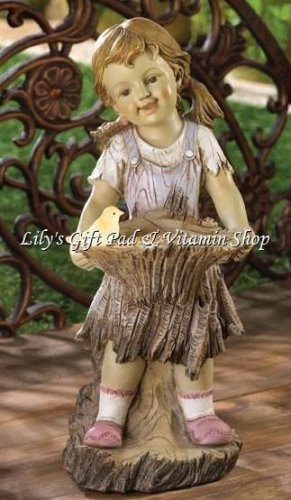 Garden GIRL STATUE Solar Power BIRD LIGHTS UP Bird Feeder SPRING Decor (#13914)