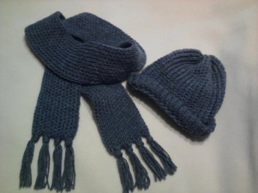 Custom Handmade SCARF & BEANIE Set GRAY Country Heather SCARVE Grey