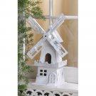 White Windmill BIRDHOUSE Nautical Outdoor SPRING TIME Garden Bird House (#14623)