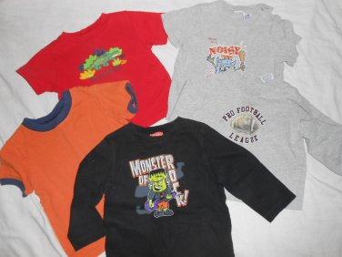 BOYS Lot Of 5 Long & Short Sleeve T Shirts SIZE 24 MONTHS Football Halloween