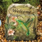 Motion HUMMINGBIRD GARDEN WELCOME STONE Solar Powered LED Solar Lights (#13912)