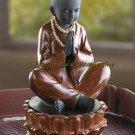 Sitting MONK TREASURE BOX Trinket Box Praying BUDDHA Asian Far East (#12643)