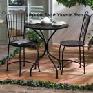 PATIO BISTRO SET Black Metal LATTICE Top TABLE Two Chairs Garden Decor 10015460